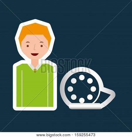 cartoon film reel guy design vector illustration eps 10