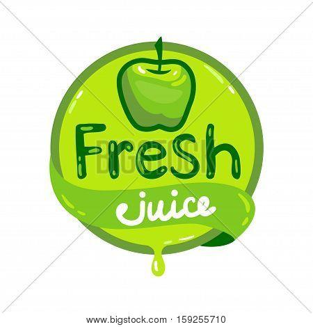 Colorful fresh green apple juice emblem, vector illustration for your design.
