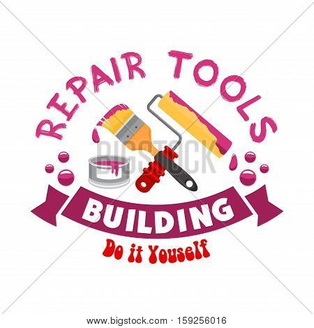 Repair and home construction sign, icon. Work tools for painting and finishing works. Paintbrush, stucco, whitewash roll. Handyman tool set for home interior decor design works and repair instruments shop or market