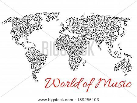 Musical notes in shape of world map. Vector icons of music stave pattern designed in form of continents. Africa, America with Australia, Europe and Asia made of musical notes and symbols