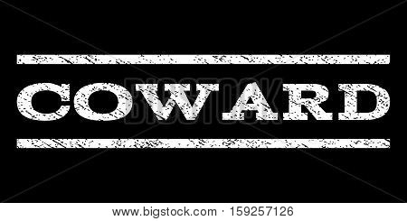 Coward watermark stamp. Text tag between horizontal parallel lines with grunge design style. Rubber seal white stamp with dust texture. Vector ink imprint on a black background.