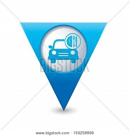 Car with meal icon on map pointer. Vector illustration
