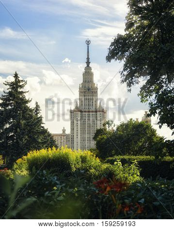 The main building of Moscow state University Russia summer 2016
