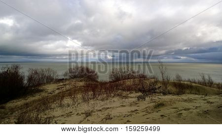 The Curonian spit in cloudy windy weather