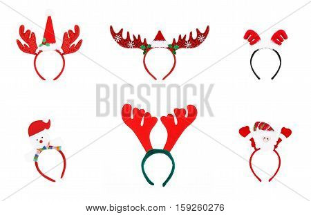Pair Of Toy Reindeer Horns. Headband Of Christmas Isolated On White Background, Set 1.