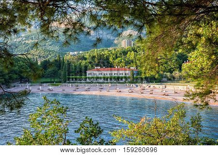 Sveti Stefan Montenegro - August 24 2015: Milocher hotel in Montenegro near Sveti Stefan. King and Quine beach