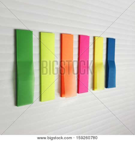 Color Paper Post It Note On Gray Plastic Bord