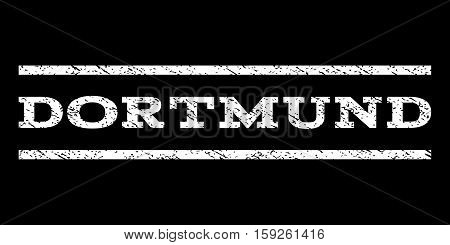 Dortmund watermark stamp. Text caption between horizontal parallel lines with grunge design style. Rubber seal white stamp with dirty texture. Vector ink imprint on a black background.