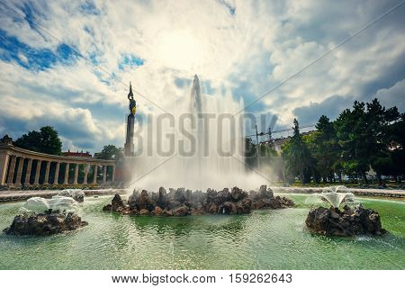 Vienna, Austria, October 13, 2016: World War Fountain And  Heroes Monument Of Red Army On Schwarzenb