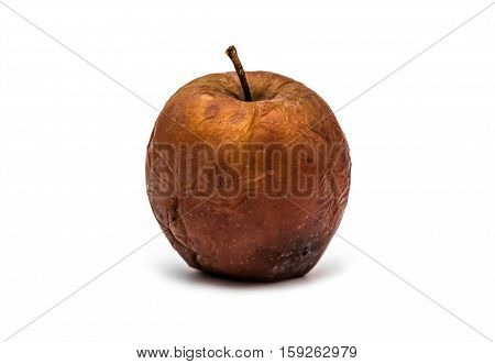 Rotten apple on white background. Dried fruit