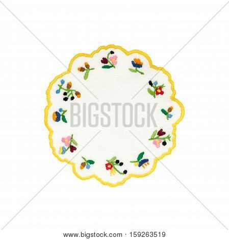Hungarian embroidered tablecloth isolated on white background