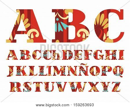 Spanish alphabet, Golden flowers, vector font, capital letters, red. The letters of the Spanish alphabet with serifs. Gold and blue flowers on a red background.