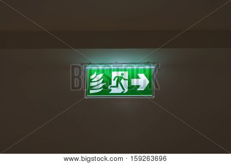 fire exit sign focus fire exit sign