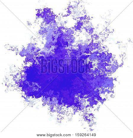Irregular bright violet colored digital splash blot stain
