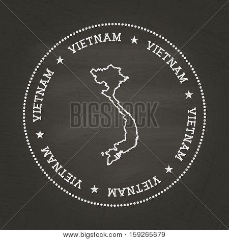 White Chalk Texture Vintage Seal With Socialist Republic Of Vietnam Map On A School Blackboard. Grun