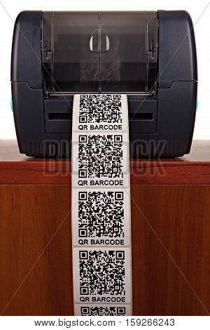 Barcode label printer, isolated on white background. Dummy barcode contains text