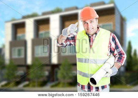 Successful Engineer Or Builder Doing A Call Gesture