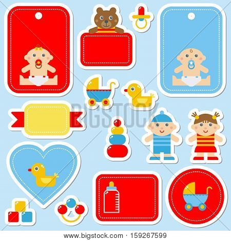 Adorable baby related colorful sticker icons set