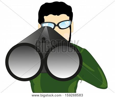 The Man unadulterated from weapon on white background.Vector illustration