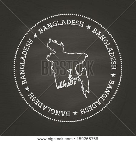 White Chalk Texture Vintage Seal With People's Republic Of Bangladesh Map On A School Blackboard. Gr