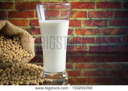 Close up Soy Beans and Soy Milk