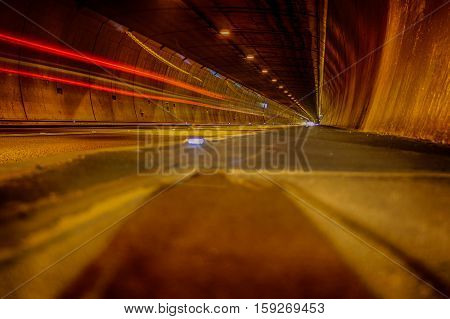A tunnel long time exposure picture at night