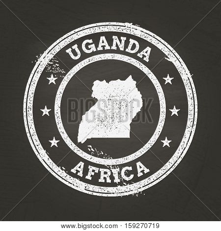 White Chalk Texture Grunge Stamp With Republic Of Uganda Map On A School Blackboard. Grunge Rubber S