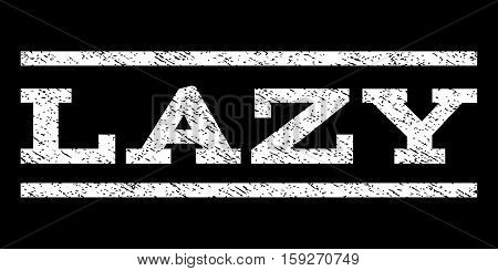 Lazy watermark stamp. Text caption between horizontal parallel lines with grunge design style. Rubber seal white stamp with scratched texture. Vector ink imprint on a black background.
