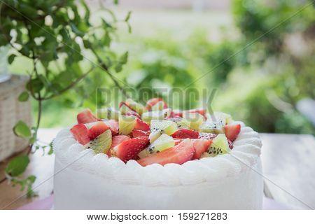 Close up Strawberry and kiwi shortcake on table