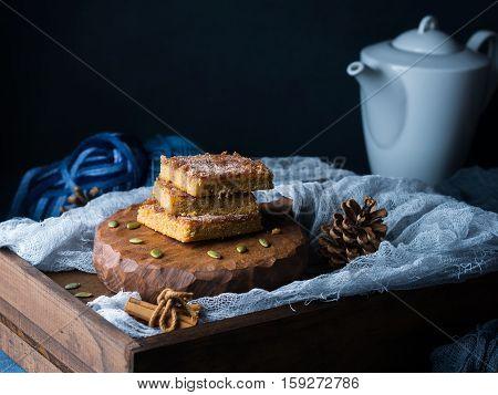 Winter Breakfast Still Life With Spiced Blondies