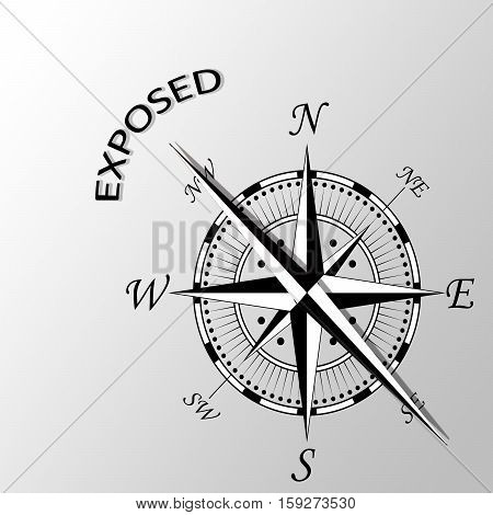 Illustration of exposed word written aside compass