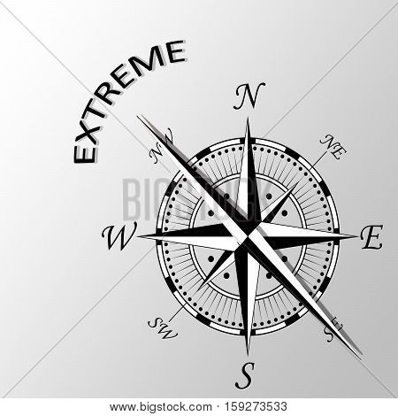 Illustration of extreme word written aside compass