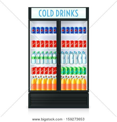 Vertical refrigerator template with closed door transparent glass cola and other beverages inside isolated vector illustration