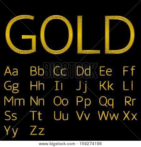 Golden English alphabet. Royal elegant letters, Luxury font