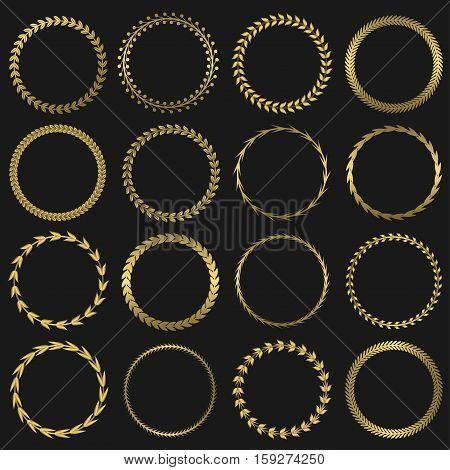 Golden laurel wreaths. Award label set, success leadership insignia symbols