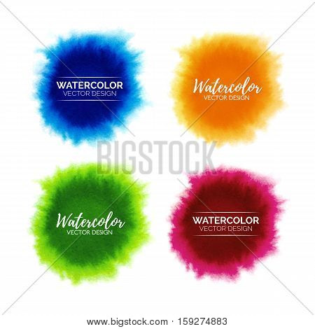 Colorful set of abstract watercolor stains isolated on white background, hand painted watercolour spread spots, vector template for branding design, stickers, label