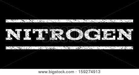 Nitrogen watermark stamp. Text tag between horizontal parallel lines with grunge design style. Rubber seal white stamp with unclean texture. Vector ink imprint on a black background.