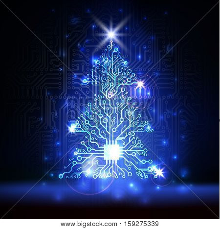Vector abstract lighting blue technology Christmas tree made of digital electronic circuit board and microchip
