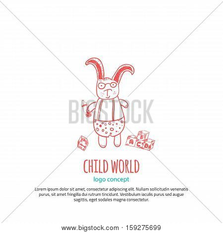 Funny Toy Rabbit Logo concept design vector template. Cute Animal Logotype for child store with toys concept. Clever rabbit with glasses.