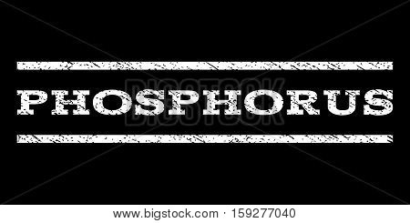 Phosphorus watermark stamp. Text tag between horizontal parallel lines with grunge design style. Rubber seal white stamp with unclean texture. Vector ink imprint on a black background.