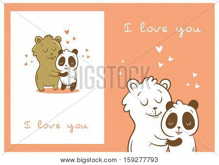 Valentine's cards set with cute cartoon  bear and panda on  pink  background. Happy couple. Animals Lovers. Children's illustration. Vector image.