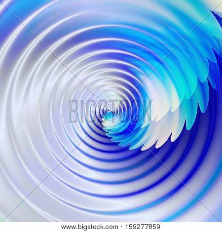 Abstract rotating swirling background with water waves. Blue, white and turquoise liquid circular background resembling water vortex