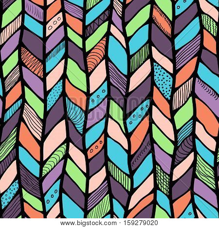 Tribal style braided seamless pattern ethnic chevron multicolor. Braid lines.