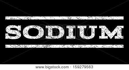 Sodium watermark stamp. Text caption between horizontal parallel lines with grunge design style. Rubber seal white stamp with unclean texture. Vector ink imprint on a black background.