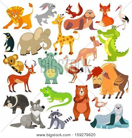 Set of funny animals, birds and reptiles from all over the world. World fauna. For alphabet. Vector illustration