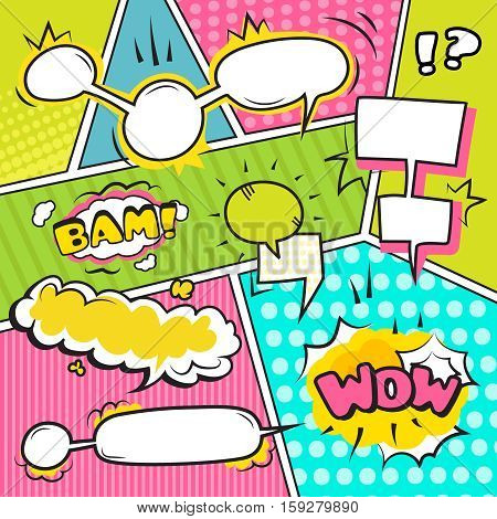 Comic speech and sound emotional bubble banners set flat vector illustration