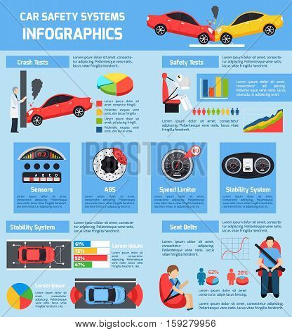 Car safety systems infographics with different test of transport stability and control in flat style vector illustration