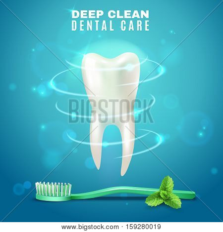 Prophylactic dental deep cleaning medical poster with tooth brush and fresh mint leaves blurred background vector illustration