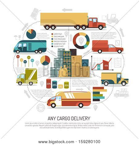 Big and small trucks delivering cargo of any size flat vector illustration