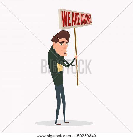 Cartoon man on strike waving banners and picket protesting against something.